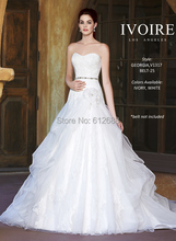 Fashion Georgia Style Wedding Dress Strapless Lace Appliques Beading Sash Organza Chapel Train Long vestido de noiva