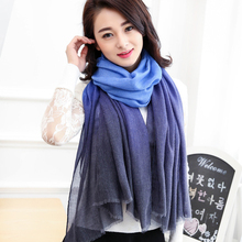 New Arrival 2017 Winter Scarves Women shawl pashmina cachecol Gradual Scarfs Foulard Cotton shawls Scarf wrap(China)