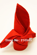 Awillhome  10pcs/lot  200gsm red hemstitch polyester napkins  40x40cm