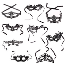 9 Style 2017 New Girls Women Hot Sales Black Sexy Lady Lace Mask Cutout Eye Mask for Masquerade Party Fancy Dress Costume