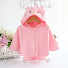 Lovely Baby Girls Princess Hello Kitty Cloak Spring Autumn Infant Children Cotton Clothes Kids Outwear Hooded Cartoon Shawl Coat