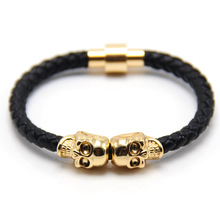 ZG 2017 Lastest 10 colors High Quality Magnetic Clasp Fashion Punk Genuine Leather Man Skull Bracelet for Man(China)