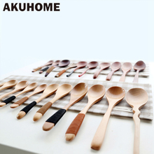 Exquisite Lovely Handmade Eco-Friendly Japanese Tableware Handle Coffee Wooden Spoon Fork Wrapped Wire Beech Handle