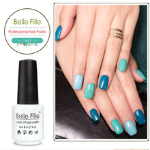 Belle Fille 8ml Green Blue 189 Color Wine Red Fake Nails Soak Off Gel Polish Makeup Nail Polish Colour Holographic Pigment Beaty(China)