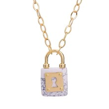 2016 Handmade Natural Stone White Lock Shaped Pendant Gold Color Link Chain Necklace For Women Jewelry