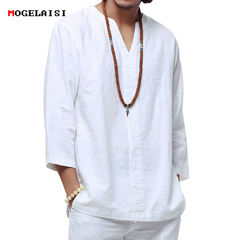 Linen Shirt Chinese-Style White Three-Quarter Plus-Size Casual 4XL/5XL Camisa Soft TX55 title=
