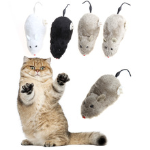 Cat Toy Winding Mechanism Mouse Cat Toy For Cat Dog Pet Trick Playing Toy Plush Rat mechanical Motion Rats Random Color(China)