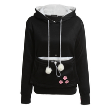 Cat Lovers Hoodies With Cuddle Pouch Dog Pet Hoodies For Casual Kangaroo Pullovers With Ears Sweatshirt XL Drop Shipping(China)