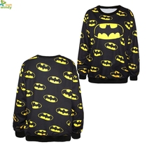 Yellow Smile Batman Training Sweaters Black The Dark Knight Sweatshirts Autumn Winter Loose Cartoon Movie Mens Hoodies Print