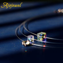 Ajojewel Luxury SWA Crystal Fish Chain Cube Necklace 40cm Invisible Line Clavicle Chain Choker Necklace Women New Jewelry
