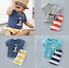 2017 Baby Boys Summer Clothing Set Boat Plane Pattern Cotton Baby Boys Clothes Set T-shirt+Pant 2PCS Outfits Kids Clothes