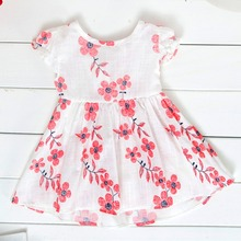 Cute flower big bow girl dress Both  cool summer cotton girl child baby clothes Banquet princess comfortable party parenting