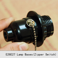 UL Bakelite Lamp Holder Pull Chain E26E27 Vintage Edison Screw Bulb Lamp Socket Zipper Switch Retro Pendant Lamp bases 3PCS/Lot