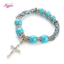 Jaasa high quality popular retro woman jewelry handmade beaded crystal bracelet cross pendant jsb837 dropshipping accessories(China)