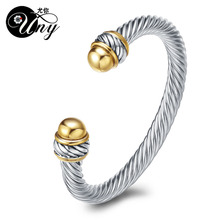 Buy UNY Bangle Twisted Cable Wire Bracelet Antique Bangles Luxury Fashion Designer Brand Vintage Christmas Gift Womens Cuff Bracelet for $9.20 in AliExpress store