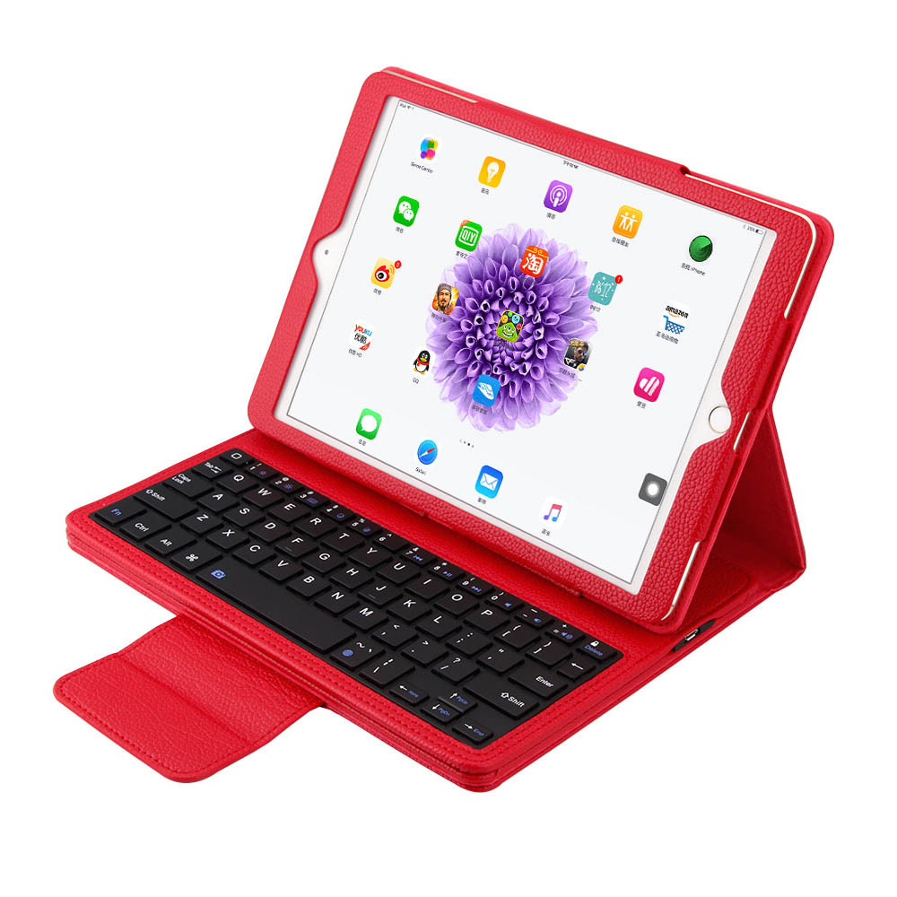 2 in 1 Removable wireless Bluetooth Keyboard + PU Leather Case For Apple iPad 9.7 2017 Fashion Solid Case Cover With Keyboard<br>