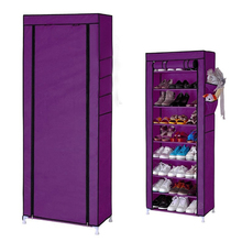 SZS Hot Home 10 Layer 9 Grid Shoe Rack Storage Shelf Organizer Cabinet Cover Pockets Purple