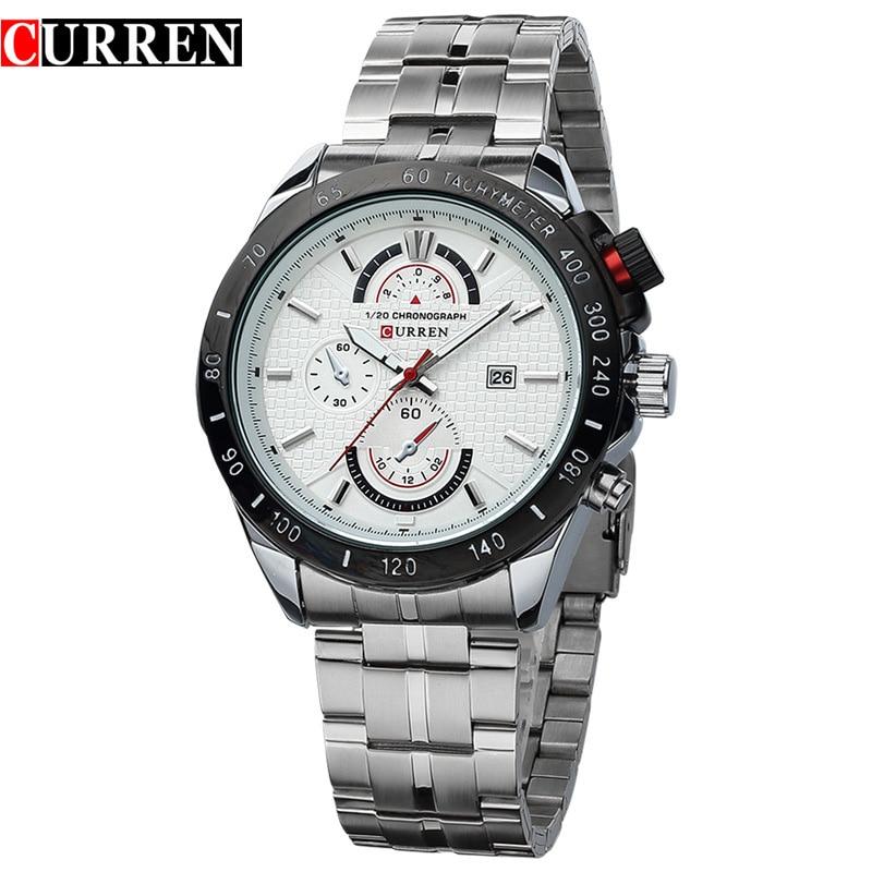 New CURREN Brand 3ATM Waterproof Sports Watches Men Full Steel Calendar Analog Quartz Watch Casual Dress Wristwatches<br>