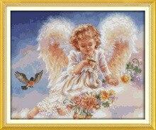 Маленький ангел и птицы Печатные Холст DMC Счетный Китайский Вышивки Крестом Комплекты печатных вышивка крестом набор для Вышивания Рукодел...(China)
