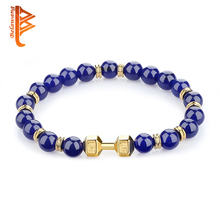 BELAWANG Wholesale Barbell Natural Stone Crystal Beads Bracelet Fit Life Dumbbell Charm Bracelets Women Men Fashion Jewelry