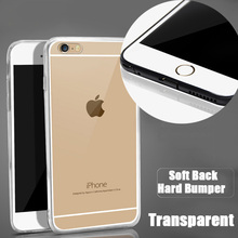 Ultra Thin TPU Acrylic Hard Back With Dust Plug Transparent Clear Protective Cover Case For iPhone SE 5 5S 6 6S Plus 20pcs/lot