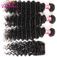 Beautiful Princess Deep Wave Brazilian Hair Weave Bundles With Closure Double Weft Human Hair 3 Bundles With Closure NonRemy(China)