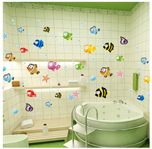 2016 New Hot sale Halibut Wall Stickers for Bathroom bathroom decor Removable wall stickers Children like the bathroom stickers