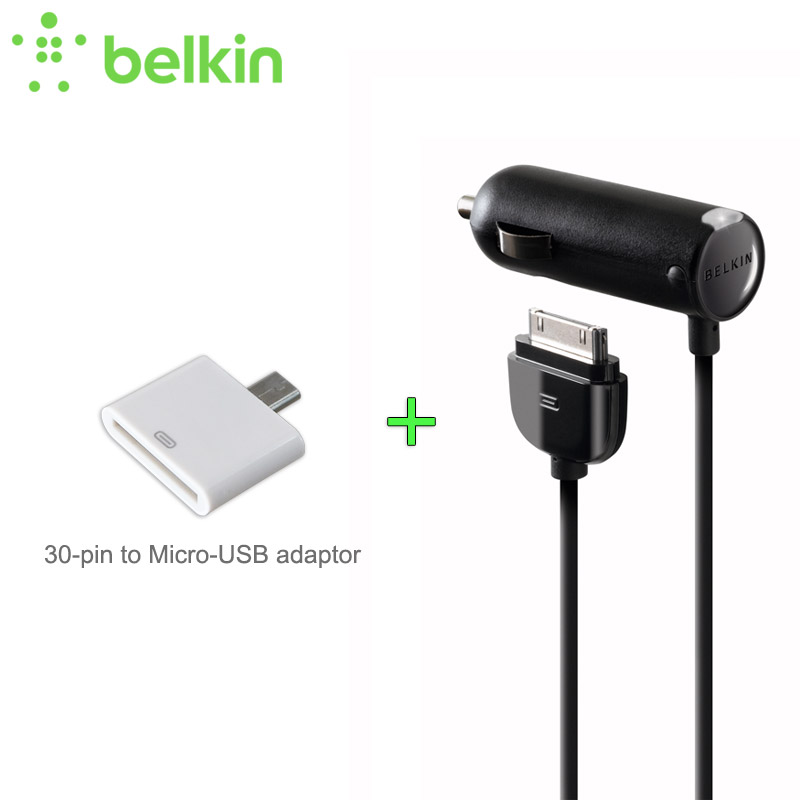 Promotion! Belkin Original MFi Certified Car Charger for iPhone 4S (Additional 30 pin to Micro USB Adapter as gift) F8Z184zh(China)