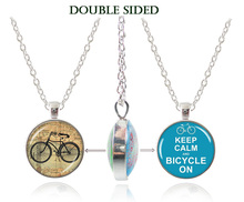 Bicycle necklace letter pendant silver chain choker necklace bike jewelry keep clam neckless women jewellery glass dome pendant