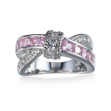 QIYIGE Cross Finger Ring Pink Crystal Rings for Women Zircon Rhinestone Silver Ring for Wedding Engagement luxury(China)
