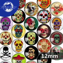 ZEROUP 12mm round glass cabochon Skull pictures mixed pattern fit cameo base setting for flat back jewelry 50pcs/lot TP-080-R