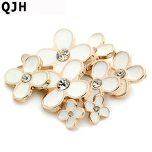 High-grade Metal Buttons Rhinestones Decoration White Gold Clover Women Coat Sweater button Sewing Accessories12mm 18mm 21mm