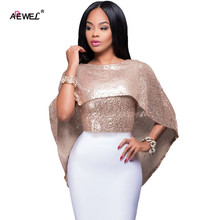 ADEWEL Fashion Sequin Women Party Shirt Ladies Cape Top Gold Sequins Sexy Tops Club Wear S/M/L(China)