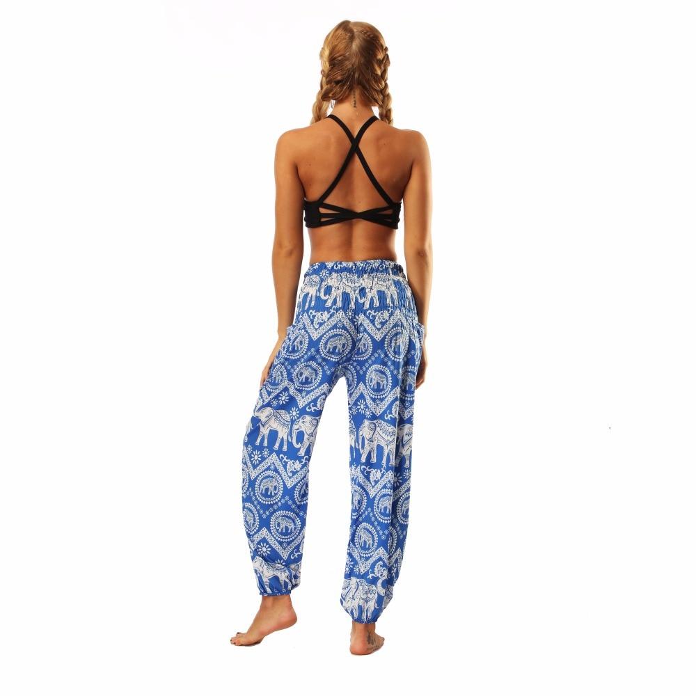 TL009- blue and white elephant wide leg loose yoga pant leggings (8)