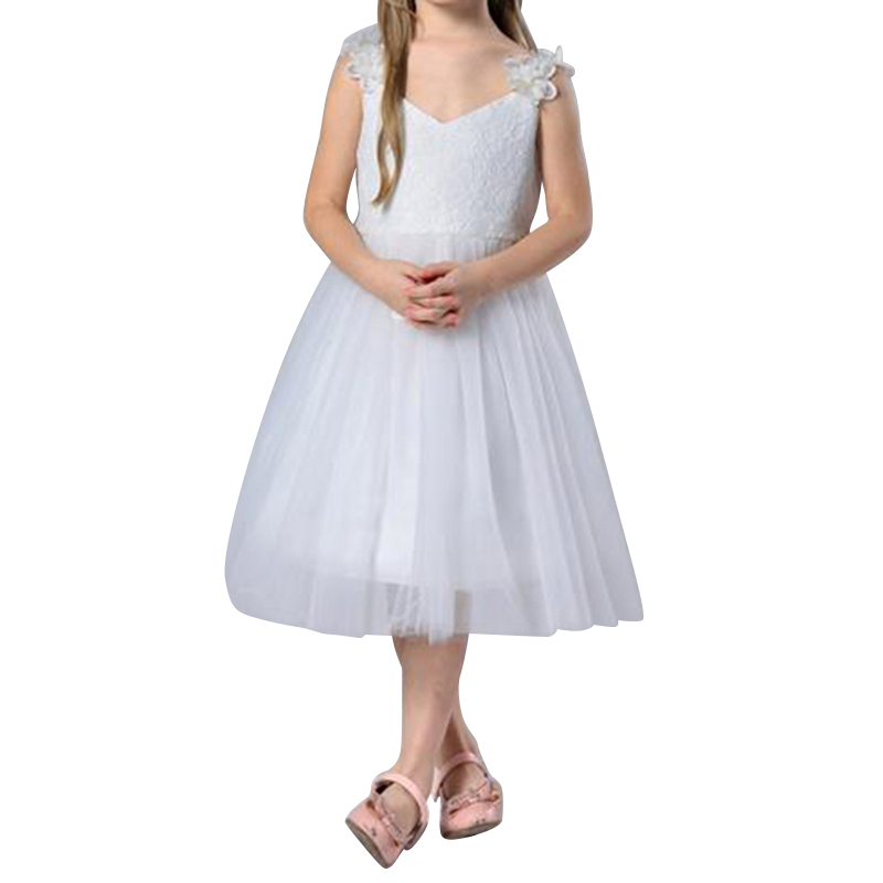 Solid White Princess Style Back Over Size Bow Knot Mid Dress Sweet Design Strap V Neck Chiffon Mesh Vestidos for Baby Girls<br><br>Aliexpress
