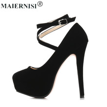 2017 Plus size 46 woman Rubber Bottom high heels Round toe with Strap Shoe Platforms Pump Suede Classic shop cheap shoe(China)