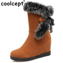 Coolcept Size 34-43 Women Height Increasing Mid Calf Snow Boots Women Lace Back Strap Shoes Women Thick Fur Warm Winter Botas(China)