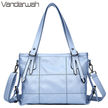 HOT Lady Top-handle bags leather luxury handbags women bags designer Stitching casual Women messenger Big shoulder bag Tote SAC(China)