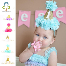 Fashion 1st Brithday Hat Fushia Glitter First Birthday Party Hat Cake Smash Flower Birthday Girls Hat Baby Girls Gold Crown WYQ(China)