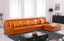 Free Shipping Top Grain Imported Double Color Cattle Leather, Grand orange furniture Luxury and duration,L shaped 3.8M Sofa Set