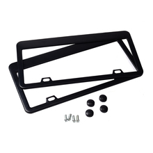 2pcs JDM Front Rear Stainless Steel Look USA/Canada License Plate Frame Tag Cover Holder For Auto Truck Vehicles Silver/Black