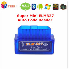 100pcs/lot Latest Version V2.1 white Super MINI ELM327 Bluetooth OBD/OBD2  ELM 327 Multi-Language Works ON Android Torque/PC