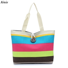 Female Bolsos 2017 Fashion Women Canvas Shopping bags Famous Brands Colored stripes Women Tote Bag Ladies Pochette Sac Femme(China)