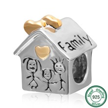 ChaWin Family House Charm with Gold Plated Heart Charm Original 100% Authentic 925 Silver Beads fit for Pandora bracelet
