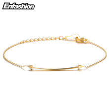Enfashion Flat Bar spikes Bracelets Stainless Steel Charm Bracelet Femme Chain Gold color Bracelet For Women Jewelry pulseiras(China)