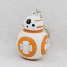New Arrival Star Wars BB-8 Droid Robot Action Figure 3D Led Keychain Flashlight Keyring With Sound Gift(China)