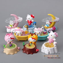 Free Shipping Cute Hello kitty Toys Kitty Cat PVC Action Figures Dolls 8pcs/set New in Box Christmas Gifts Girls Toys KTFG004