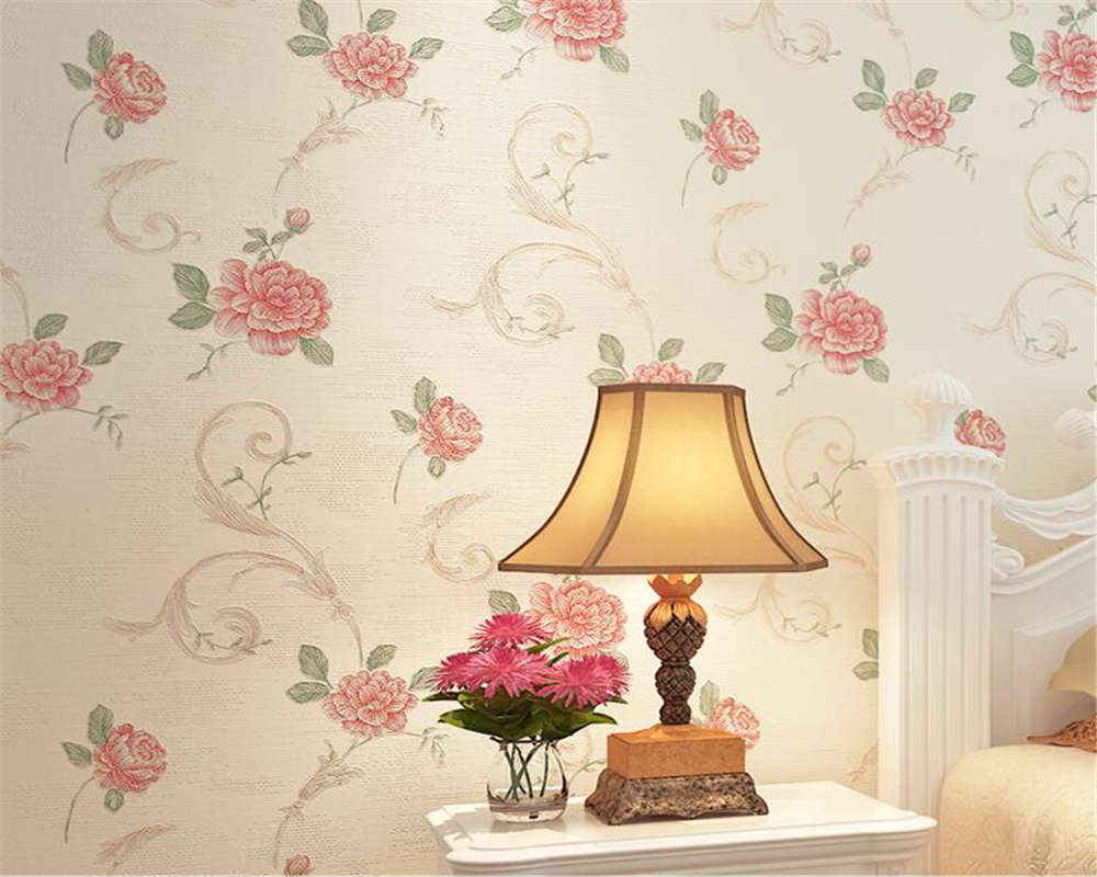 Beibehang European Floral 3D Wallpaper For Walls Bedroom Living room Decor Embossed Pink Light purple 3D Flower Wall paper Rolls<br>