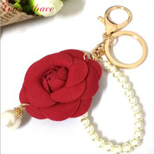 Loura Shace Cloth art camellia beaded pearl rose flower bag  mobile phone accessories Key Chain Handbag Key Ring Delicate 2017