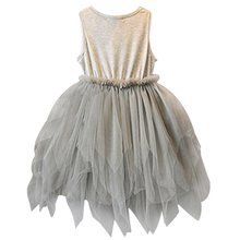 Girls Fashion Summer Clothes Kids Gray Sleeveless Mesh Tulle Party Tutu Dress